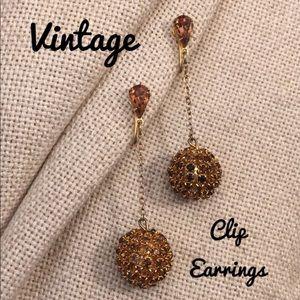 Vintage Brown Rhinestone Disco Ball Clip Earrings